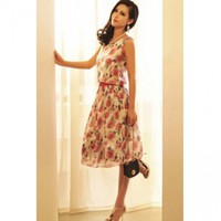 Bohemian Floral Print Boat Neck Tank Sleeveless Chiffon A Line Dress
