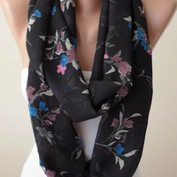 Mother's Day - Black Infinity Scarf with Pink and Blue Flowers-  Chiffon Fabric