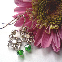 SALE green Swarovski earrings with silver by PinkCupcakeJC on Etsy