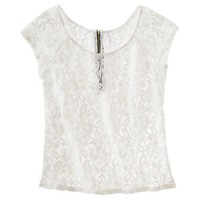 Xhilaration® Juniors Zip Back Lace Top - Assorted colors