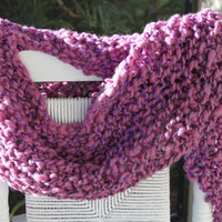 Hand Knit Bulky Scarf mini Shawl in Purple Pink Red by bpenatzer