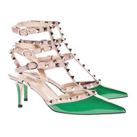 VALENTINO   Rockstud Slingback Kitten Green Patent-leather pumps - Accessories