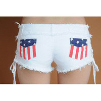 Romantic moments  2342 Flag package hip repair leg shorts denim shorts