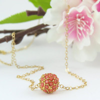 Coral Stardust Necklace, Coral Glitter Sparkle Bead Thin Gold Chain, Coral Necklace, Orange Coral Bead, Gold Necklace, Gold Coral Necklace