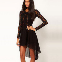 Temptation  your eyes — Irregular black tall waist long sleeve lace chiffon dress