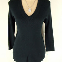 NEW $69.50 Ralph Lauren Top XL X LARGE black corded v neck Seasonal Classics