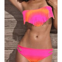 Romantic moments  3421Gradient fringed bikini