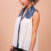 Denim Fray Blouse - Chiffon Blouses at Pinkice.com