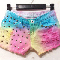 Gradient fluorescent flash tassel tie dye denim shorts