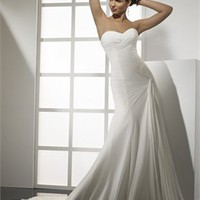 Plain Style Sweetheart Neckline Natural Waist Chiffon Small Train Wedding Dress WD2035