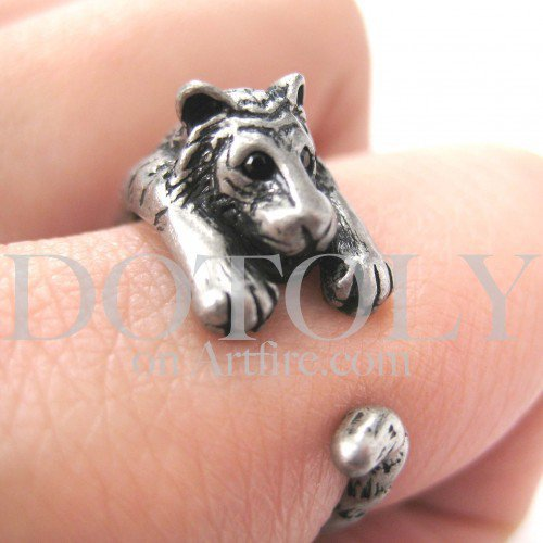Miniature Tiger Ring in Silver Sizes 4 to 9 available | dotoly - Jewelry on ArtFire