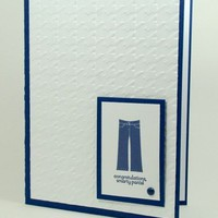 Graduation Greeting Card Handmade Smarty Pants Navy and White