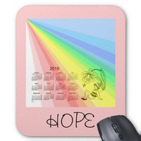 Rainbow of Hope 2018 Calendar Mouse Pad from Zazzle.com