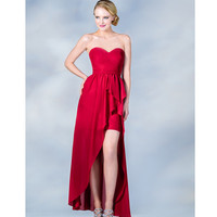 2013 Prom Dresses- Red High-Low Strapless Chiffon Prom Dress - Unique Vintage - Prom dresses, retro dresses, retro swimsuits.