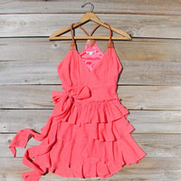 Scattered Ruffles Dress in Watermelon, Sweet Women&#x27;s Bohemian Clothing