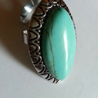 Natural Turquoise Tibet silver Vogue Mix Ring