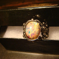 Victorian Style Fire Opal Antique Silver Filigree Ring- Adjustable (1099)