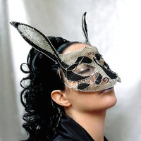 Rabbit masquerade mask ladies handmade by gringrimaceandsqueak
