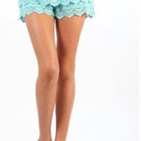 Tiered Croche Shorts: Sky