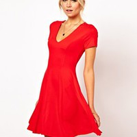 ASOS Skater Dress With V Neck And Short Sleeves at asos.com