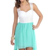 casual tank dress with solid chiffon high low and lace bodice - 400003624539 - debshops.com
