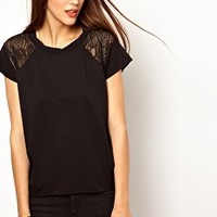 Whistles Abbie Lace Insert Bubble Top at asos.com