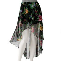 Joe Benbasset Chiffon Floral Hi-Low Maxi Skirt - Juniors