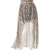 Stooshy Floral Hi-Low Maxi Skirt - Juniors