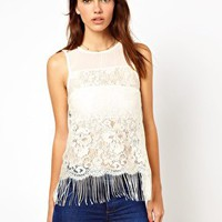 Warehouse Fringe Lace Top at asos.com