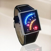LED Watch Futuristic Japanese Style Multicolor LED Watch with Black Strap - Tells Time By Colourful Arcs of 29 Individual Leds: Watches: Amazon.com