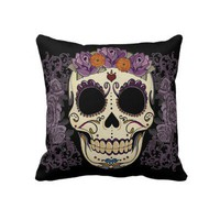 Vintage Skull and Roses Pillow from Zazzle.com