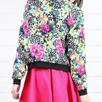 J5941 Multi Botanical Floral Bomber Jacketand Shop Apparel at MakeMeChic.com