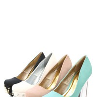 Qupid Monte-03 Mint Spiked Lucite Heel Platform Pumps and Shop Shoes at MakeMeChic.com