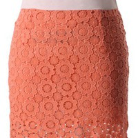 Coral Sunflower Crochet Bud Skirt