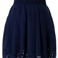 Navy Blue Pleated Skater Skirt with Cut Out Detail