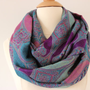 Infinity Scarf Paisley Jacquard Pashmina- Handmade Purple, Blue, Turquoise Loop, Circle, Infinity Chunky Scarf - Year Round Fashion
