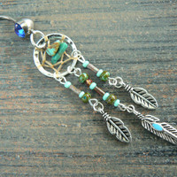turquoise dreamcatcher belly ring turquoise in by gildedingypsy