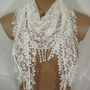 Pearl Ivory Lace Guipure Edged Scarf, Triangle Scarf, Best Seller, Mother&#x27;s Day Gift, Gift Ideas- ESCHERPE