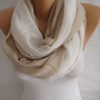 Beige White Spring Scarf Summer Scarf Oversized Scarf-ESCHERPE