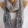 Triple Layer Polka Dot Spring Scarf Summer Scarf Crinkle Scarf -ESCHERPE