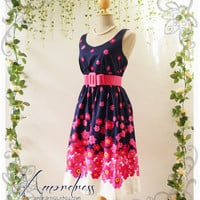 Blooming - Navy and Pink Floral Dress Tea Dress Vintage Inspired Dress Party Cocktail Garden Dress Tea Dresses  -S-M-