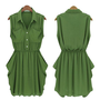 Army-green Chiffon Dress with Belt