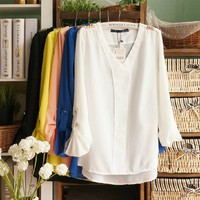 V-Neck Chiffon Blouse for Summer