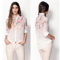 Gradient Floral Chiffon Shirt with Long Sleeves