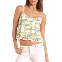 Lace-Hem Camo Print Tank: Charlotte Russe