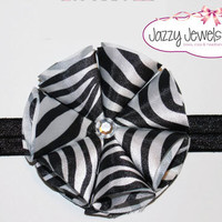 baby headband, newborn headband, girls headband, flower headband: zebra print satin flower