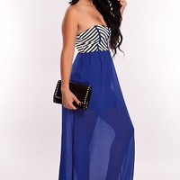 Royal Blue Multi Stripe Print Sexy Maxi Dress