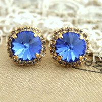Blue Sapir color Crystal stud big earring - 14 k plated gold post earrings real swarovski rhinestones