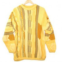 Bright Yellow Oversized Textured Cosby Style Tacky Ugly Sweater Men's Size Large/XL (L/XL) $28 - The Ugly Sweater Shop