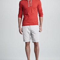 Double-Layer Pullover Hoodie & Cotton-Linen Shorts